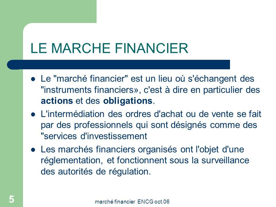 marché financier ENCG oct.06 4 LE MARCHE FINANCIER: Système permettant à des agents économiques de mettre des capitaux et d'autres moyens financiers à