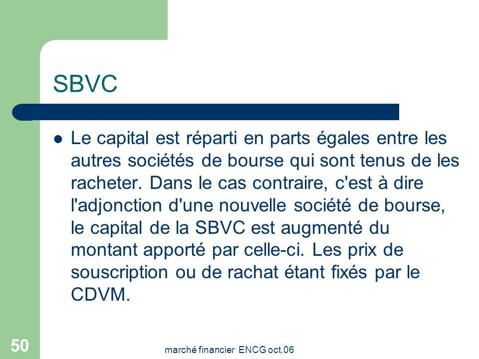 marché financier ENCG oct.06 49 SBVC - Statut juridique La société gestionnaire de la Bourse de Casablanca est une société anonyme privée. Elle est pa