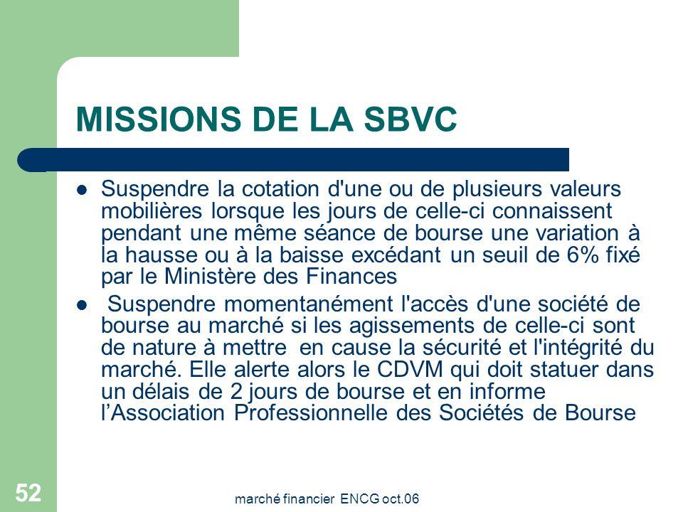marché financier ENCG oct.06 51 MISSIONS DE LA SBVC Gérer la bourse Prononcer l'introduction des valeurs leur radiation Veiller à la conformité des op