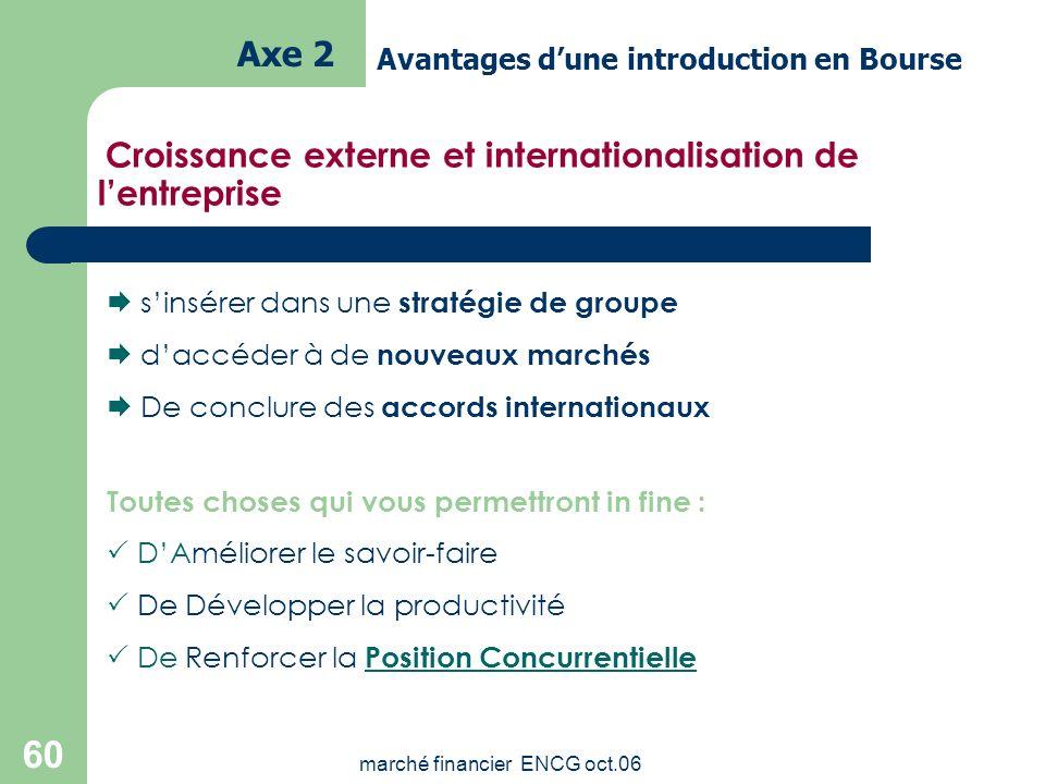 marché financier ENCG oct.06 59 La Bourse permet de financer les projets Grâce à une diversification optimale des sources de financement Par le biais
