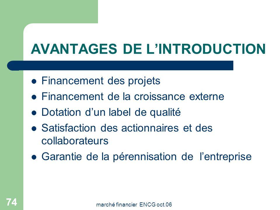 marché financier ENCG oct.06 73 Les services Fournir des explications et des précisions sur le marché boursier en général Renseigner sur les modalités