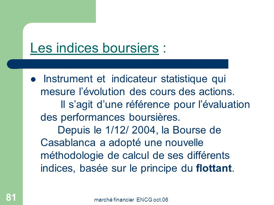 marché financier ENCG oct.06 80 INDICES BOURSIERS