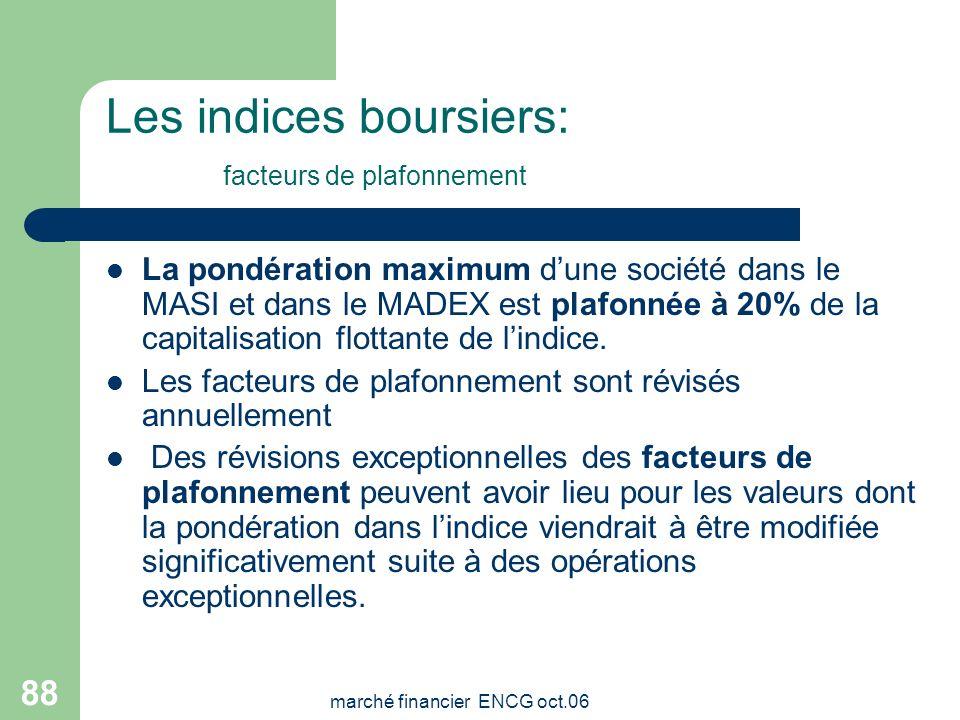 marché financier ENCG oct.06 87 Les indices boursiers Les principaux indices boursiers Le MASI (Moroccan All Shares Index) flottant intègre toutes les