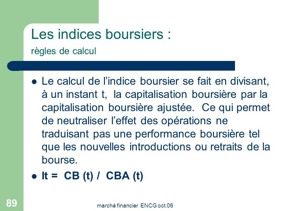 marché financier ENCG oct.06 88 Les indices boursiers: facteurs de plafonnement La pondération maximum dune société dans le MASI et dans le MADEX est
