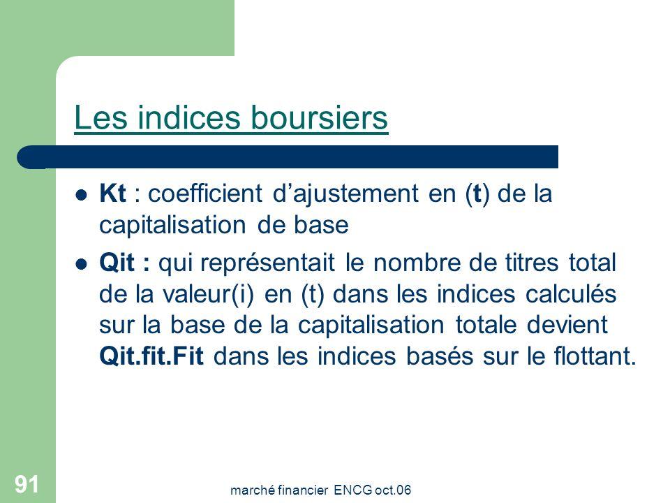 marché financier ENCG oct.06 90 Les indices boursiers La formule de la capitalisation totale : I=1000x ( Qit.Cit)/ Bo.Kt La nouvelle formule basée sur