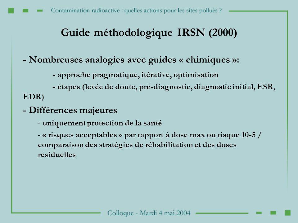 Guide méthodologique IRSN (2000) - Nombreuses analogies avec guides « chimiques »: - approche pragmatique, itérative, optimisation - étapes (levée de doute, pré-diagnostic, diagnostic initial, ESR, EDR) - Différences majeures - uniquement protection de la santé - « risques acceptables » par rapport à dose max ou risque 10-5 / comparaison des stratégies de réhabilitation et des doses résiduelles