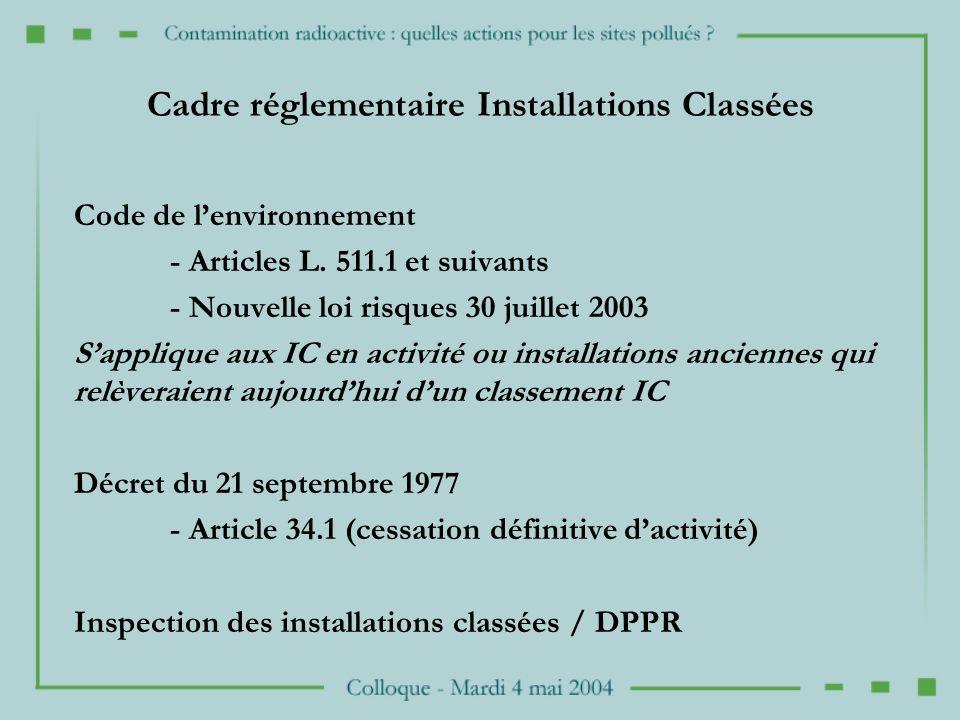 Cadre réglementaire Installations Classées Code de lenvironnement - Articles L.