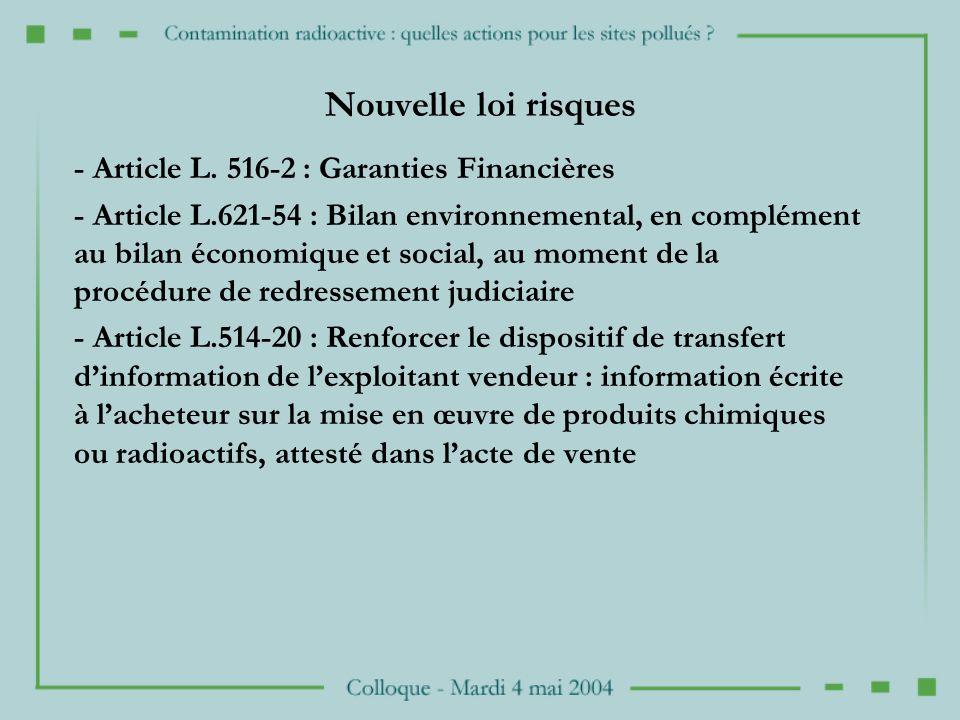 Nouvelle loi risques - Article L.