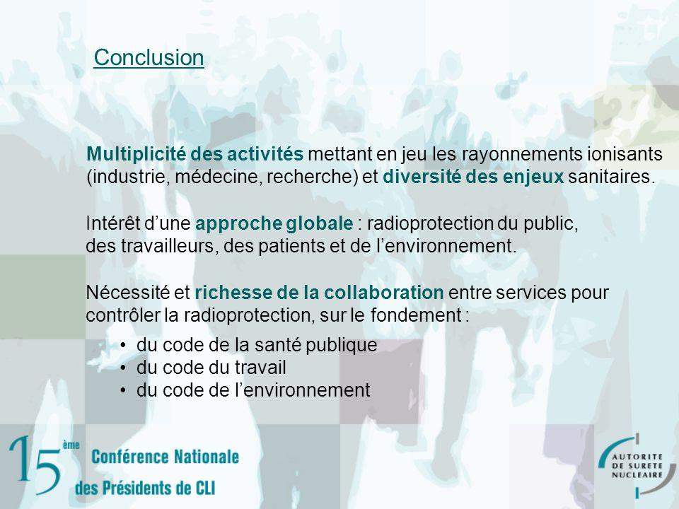 Conclusion Intérêt dune approche globale : radioprotection du public, des travailleurs, des patients et de lenvironnement. Multiplicité des activités