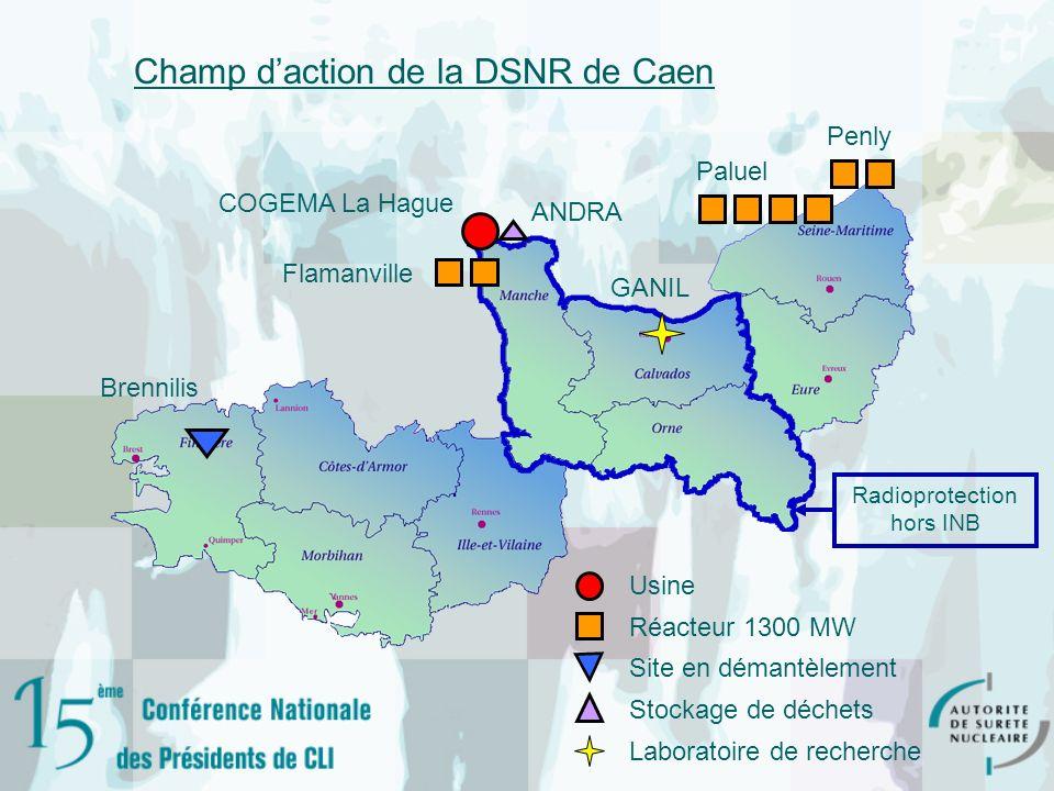 COGEMA La Hague Flamanville ANDRA Brennilis Penly Paluel GANIL Usine Réacteur 1300 MW Site en démantèlement Stockage de déchets Laboratoire de recherc