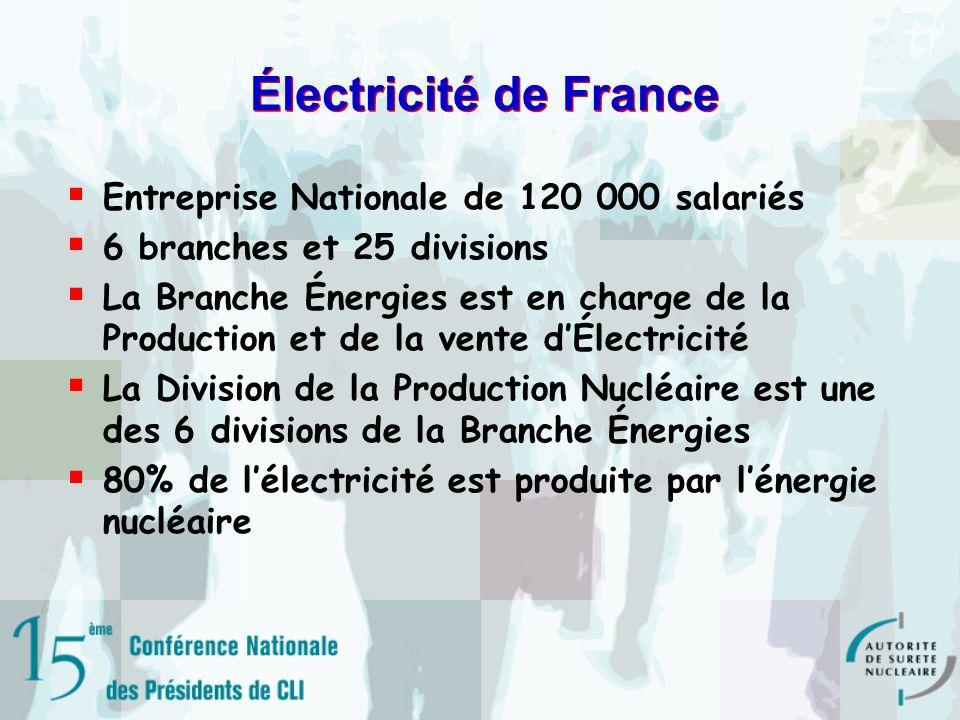 Électricité de France Entreprise Nationale de 120 000 salariés 6 branches et 25 divisions La Branche Énergies est en charge de la Production et de la vente dÉlectricité La Division de la Production Nucléaire est une des 6 divisions de la Branche Énergies 80% de lélectricité est produite par lénergie nucléaire