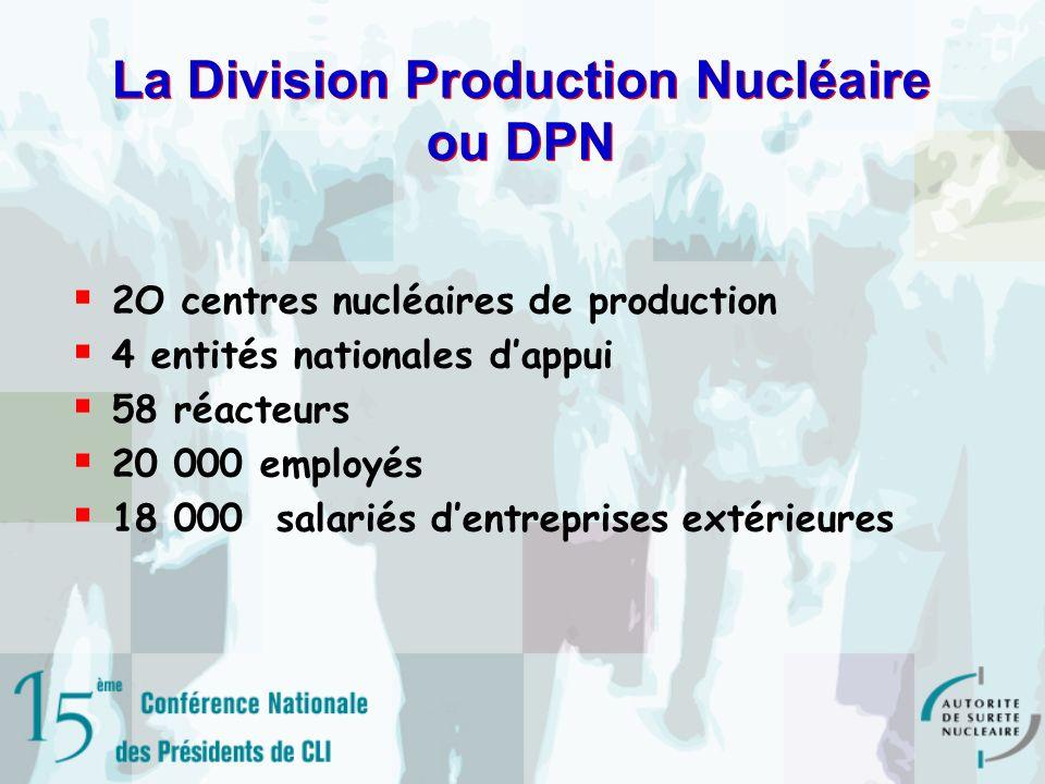 La Division Production Nucléaire ou DPN 2O centres nucléaires de production 4 entités nationales dappui 58 réacteurs 20 000 employés 18 000 salariés dentreprises extérieures