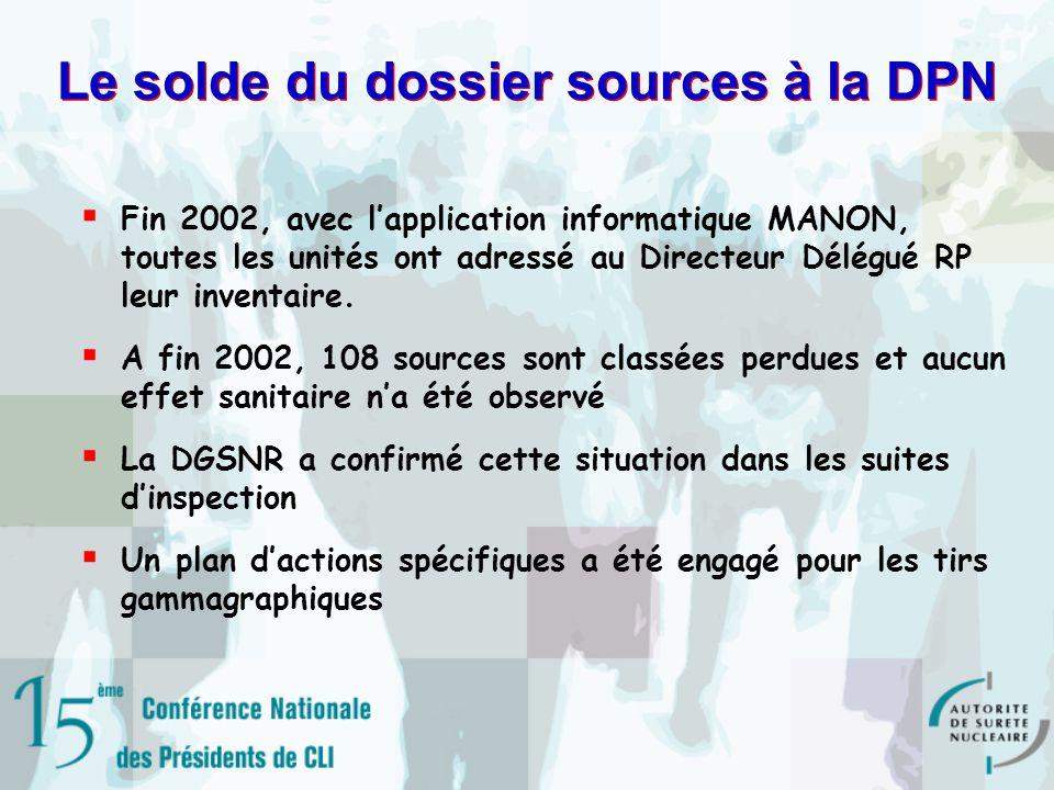 Le solde du dossier sources à la DPN Fin 2002, avec lapplication informatique MANON, toutes les unités ont adressé au Directeur Délégué RP leur inventaire.