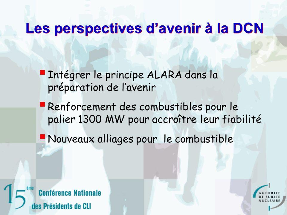 Les perspectives davenir à la DCN Intégrer le principe ALARA dans la préparation de lavenir Renforcement des combustibles pour le palier 1300 MW pour accroître leur fiabilité Nouveaux alliages pour le combustible
