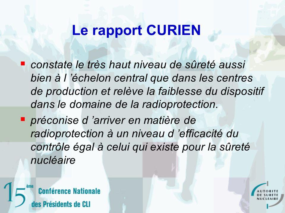 Le rapport CURIEN constate le très haut niveau de sûreté aussi bien à l échelon central que dans les centres de production et relève la faiblesse du dispositif dans le domaine de la radioprotection.