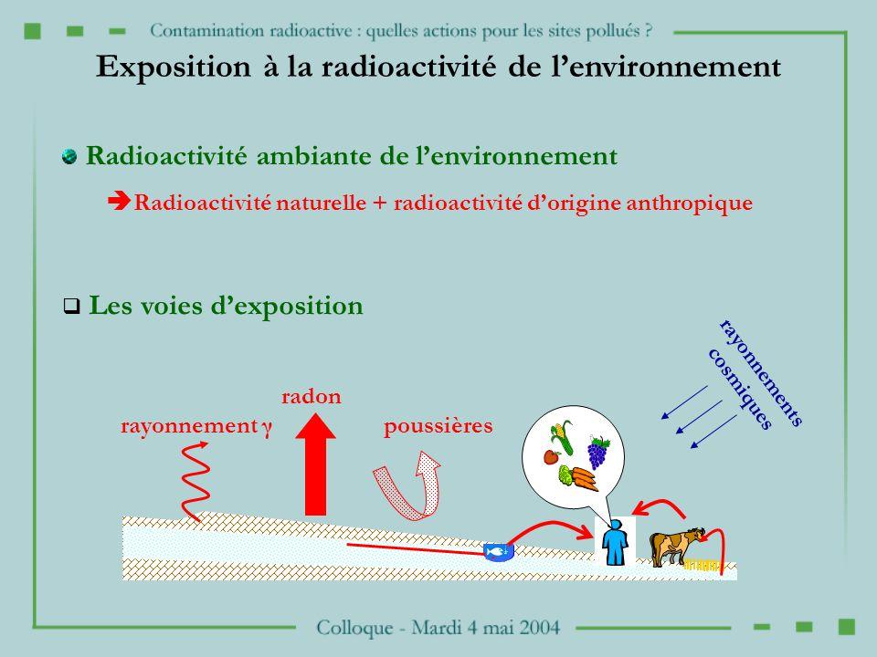 rayonnement γ radon poussières Radioactivité ambiante de lenvironnement Radioactivité naturelle + radioactivité dorigine anthropique Les voies dexposition Exposition à la radioactivité de lenvironnement rayonnements cosmiques