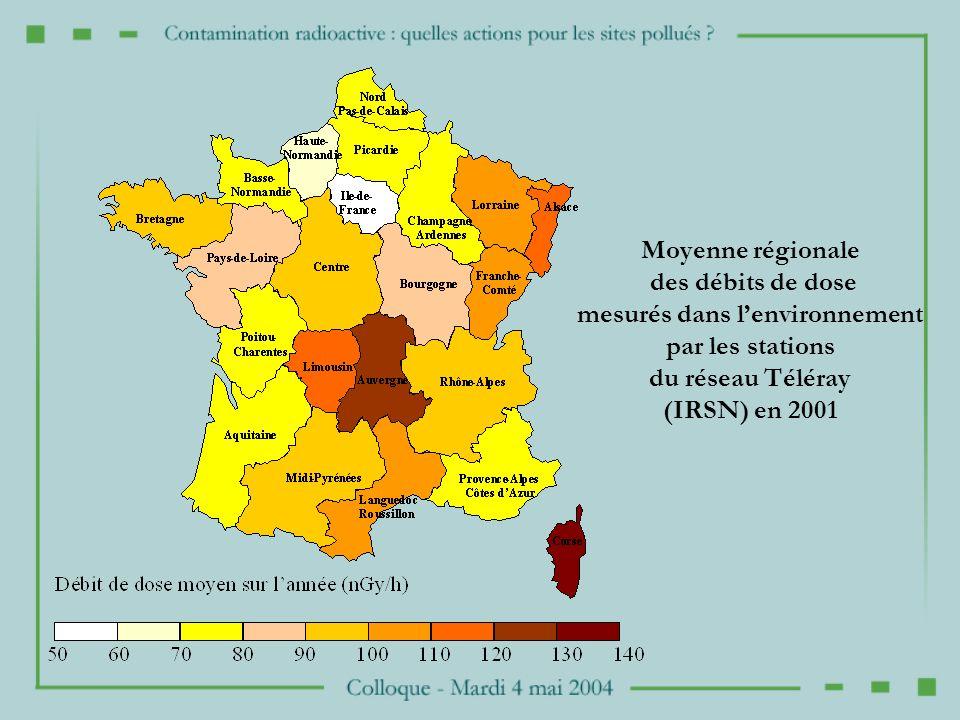 Moyenne régionale des débits de dose mesurés dans lenvironnement par les stations du réseau Téléray (IRSN) en 2001