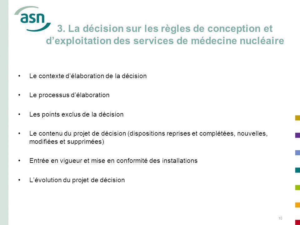10 3. La décision sur les règles de conception et dexploitation des services de médecine nucléaire Le contexte délaboration de la décision Le processu