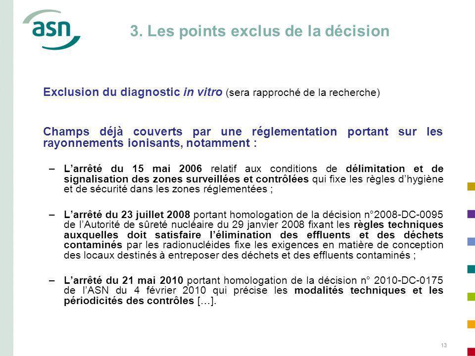13 3. Les points exclus de la décision Exclusion du diagnostic in vitro (sera rapproché de la recherche) Champs déjà couverts par une réglementation p