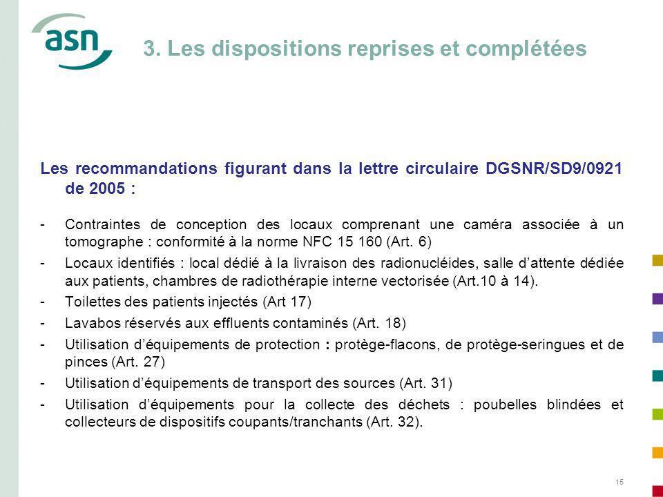 15 3. Les dispositions reprises et complétées Les recommandations figurant dans la lettre circulaire DGSNR/SD9/0921 de 2005 : -Contraintes de concepti