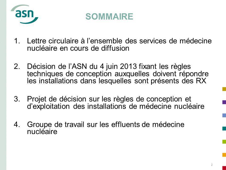 2 SOMMAIRE 1.Lettre circulaire à lensemble des services de médecine nucléaire en cours de diffusion 2.Décision de lASN du 4 juin 2013 fixant les règle