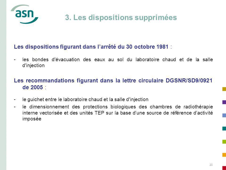 20 Les dispositions figurant dans larrêté du 30 octobre 1981 : -les bondes d'évacuation des eaux au sol du laboratoire chaud et de la salle d'injectio