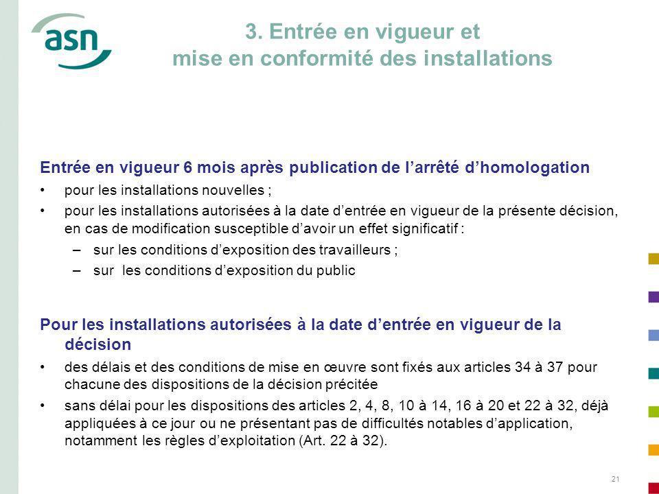 21 3. Entrée en vigueur et mise en conformité des installations Entrée en vigueur 6 mois après publication de larrêté dhomologation pour les installat