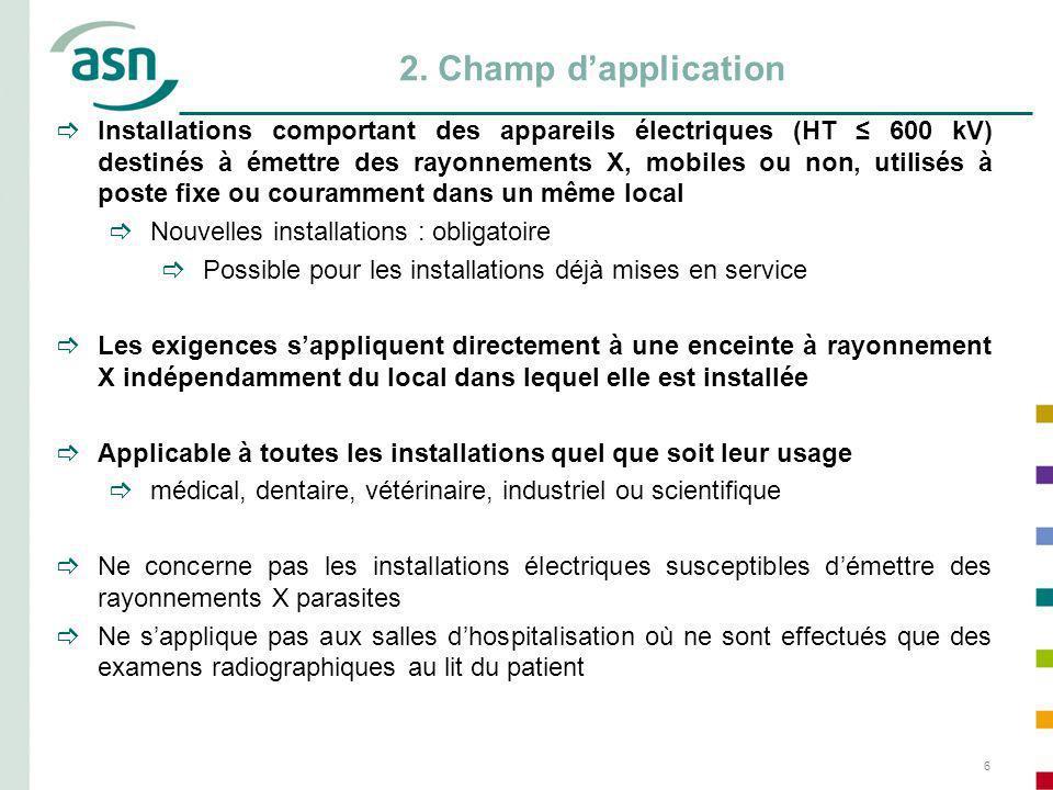 6 2. Champ dapplication Installations comportant des appareils électriques (HT 600 kV) destinés à émettre des rayonnements X, mobiles ou non, utilisés