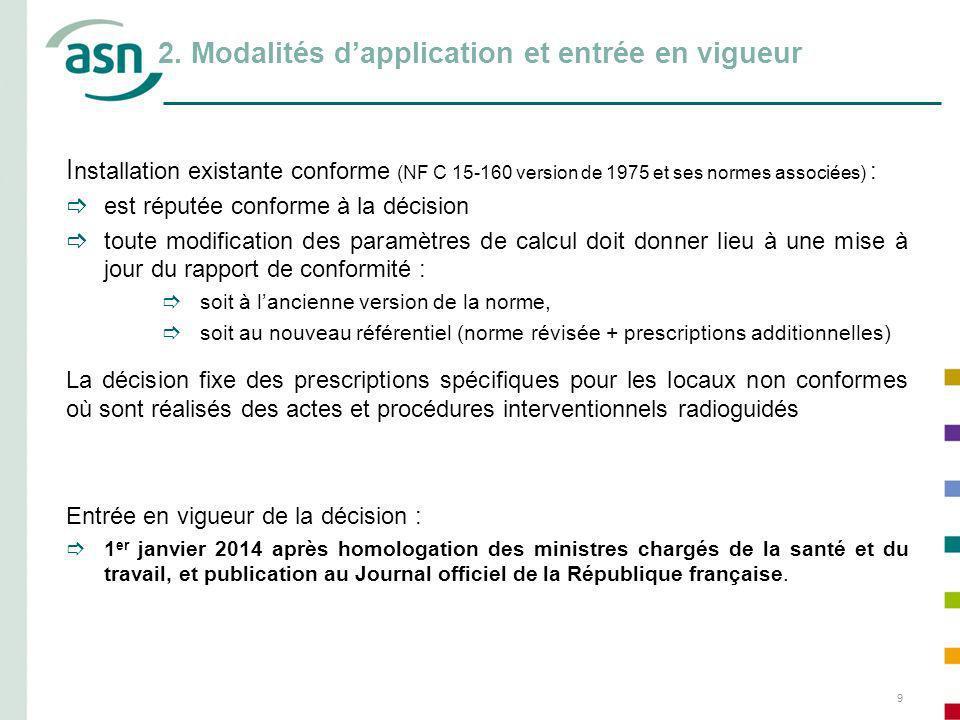 9 2. Modalités dapplication et entrée en vigueur I nstallation existante conforme (NF C 15-160 version de 1975 et ses normes associées) : est réputée