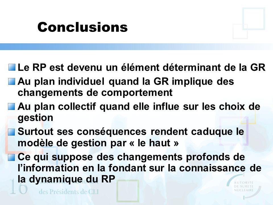Conclusions Le RP est devenu un élément déterminant de la GR Au plan individuel quand la GR implique des changements de comportement Au plan collectif quand elle influe sur les choix de gestion Surtout ses conséquences rendent caduque le modèle de gestion par « le haut » Ce qui suppose des changements profonds de linformation en la fondant sur la connaissance de la dynamique du RP