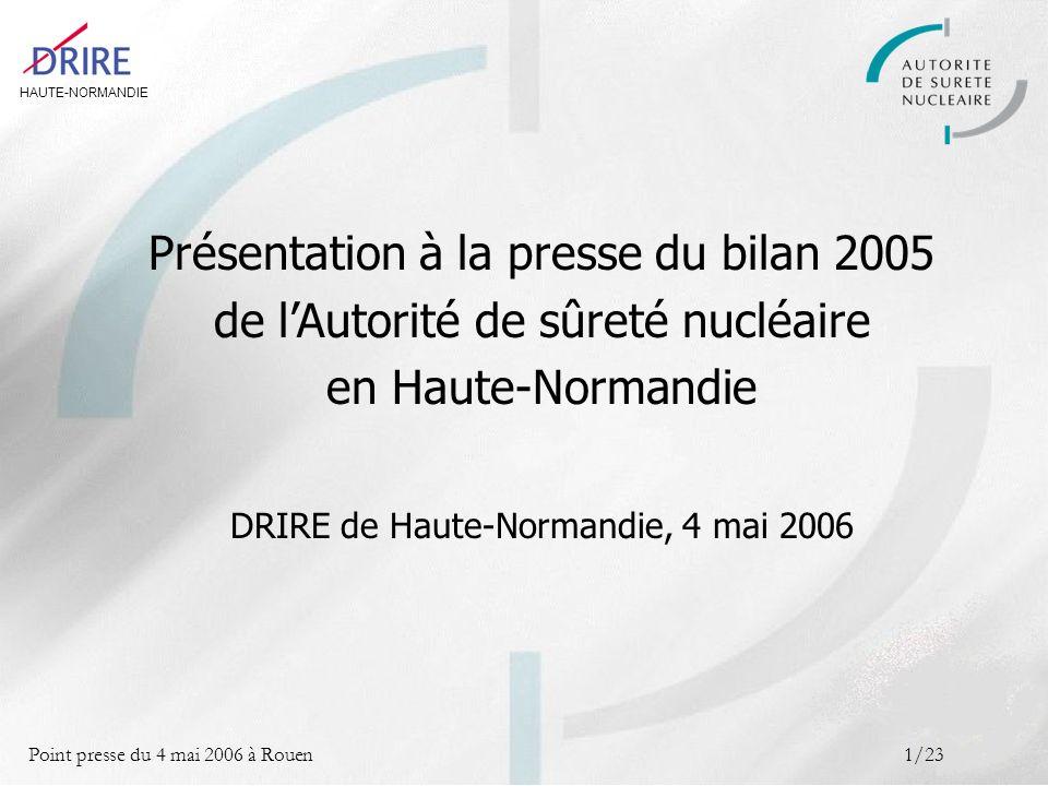 HAUTE-NORMANDIE Point presse du 4 mai 2006 à Rouen2/23 Sommaire LAutorité de sûreté nucléaire Missions, organisation, pratiques 1 Les centrales nucléaires de Paluel et Penly Bilan de la sûreté nucléaire et de la radioprotection en 2005 2 Le nucléaire de proximité Bilan de la radioprotection en 2005 3