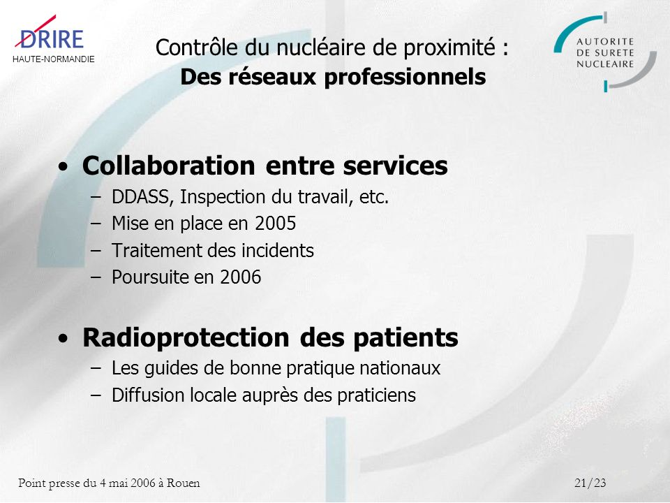 HAUTE-NORMANDIE Point presse du 4 mai 2006 à Rouen21/23 Contrôle du nucléaire de proximité : Des réseaux professionnels Collaboration entre services –DDASS, Inspection du travail, etc.