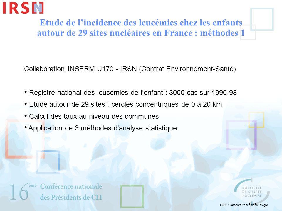 IRSN/Laboratoire dépidémiologie Collaboration INSERM U170 - IRSN (Contrat Environnement-Santé) Registre national des leucémies de lenfant : 3000 cas s