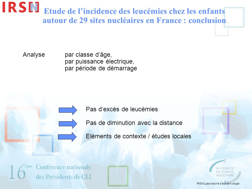 IRSN/Laboratoire dépidémiologie Etude de lincidence des leucémies chez les enfants autour de 29 sites nucléaires en France : conclusion Analyse par cl