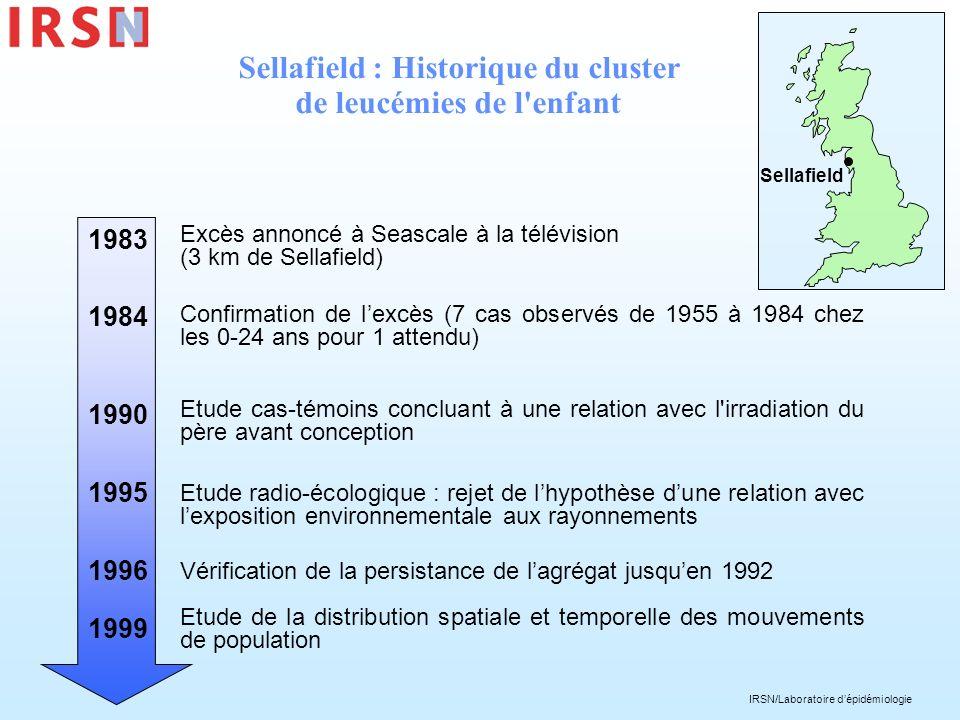 IRSN/Laboratoire dépidémiologie Sellafield : Historique du cluster de leucémies de l'enfant Excès annoncé à Seascale à la télévision (3 km de Sellafie