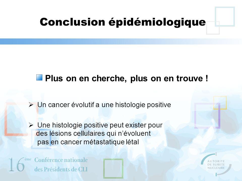Conclusion épidémiologique Plus on en cherche, plus on en trouve ! Un cancer évolutif a une histologie positive Une histologie positive peut exister p
