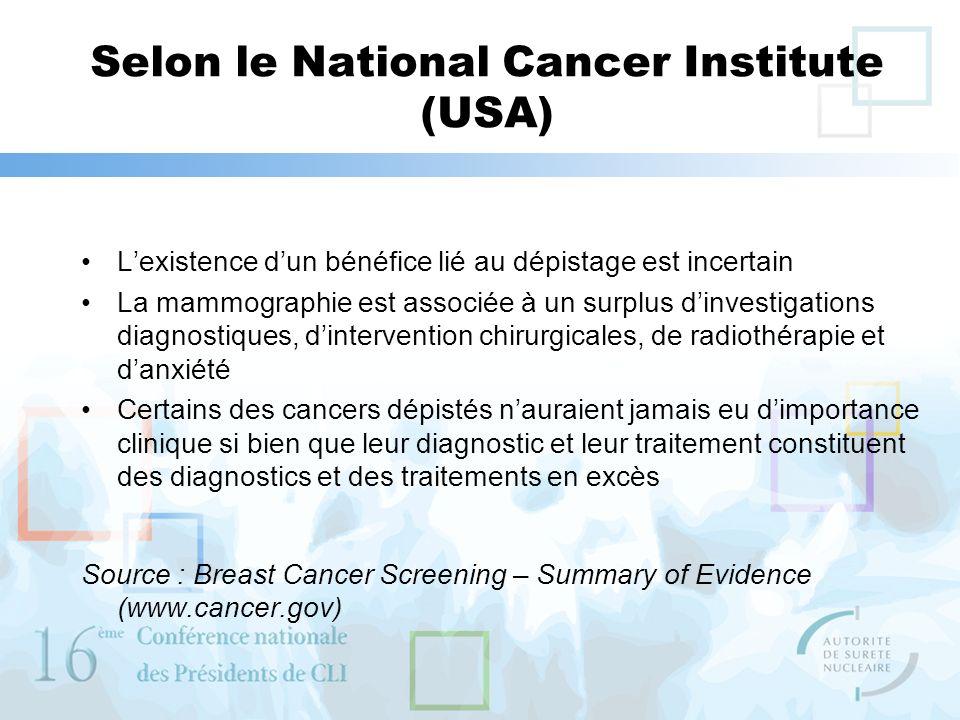 Selon le National Cancer Institute (USA) Lexistence dun bénéfice lié au dépistage est incertain La mammographie est associée à un surplus dinvestigati
