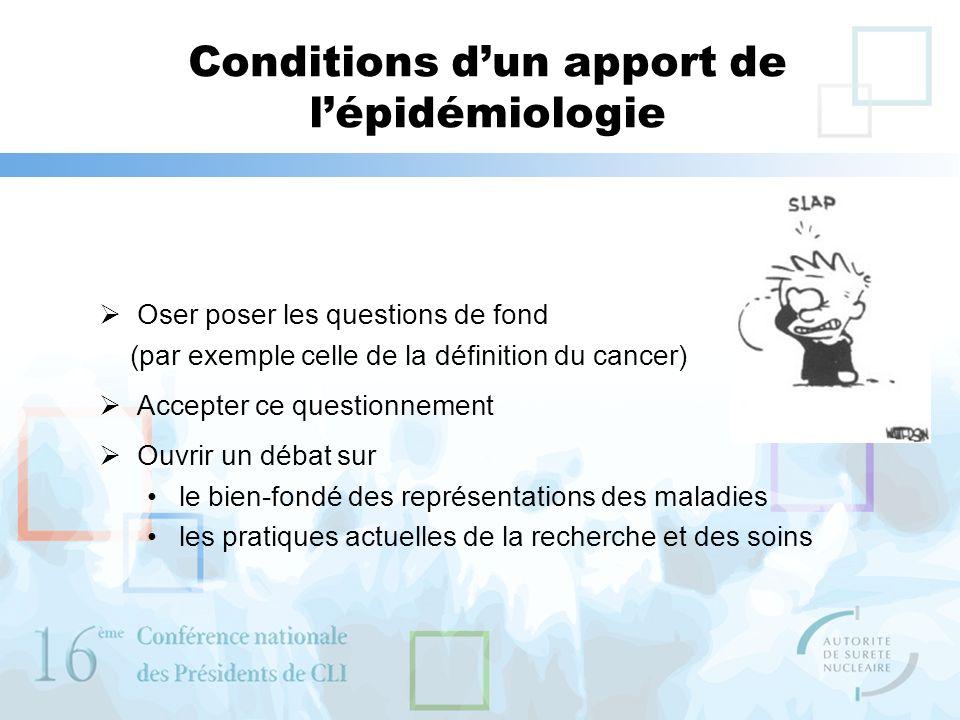 Conditions dun apport de lépidémiologie Oser poser les questions de fond (par exemple celle de la définition du cancer) Accepter ce questionnement Ouv