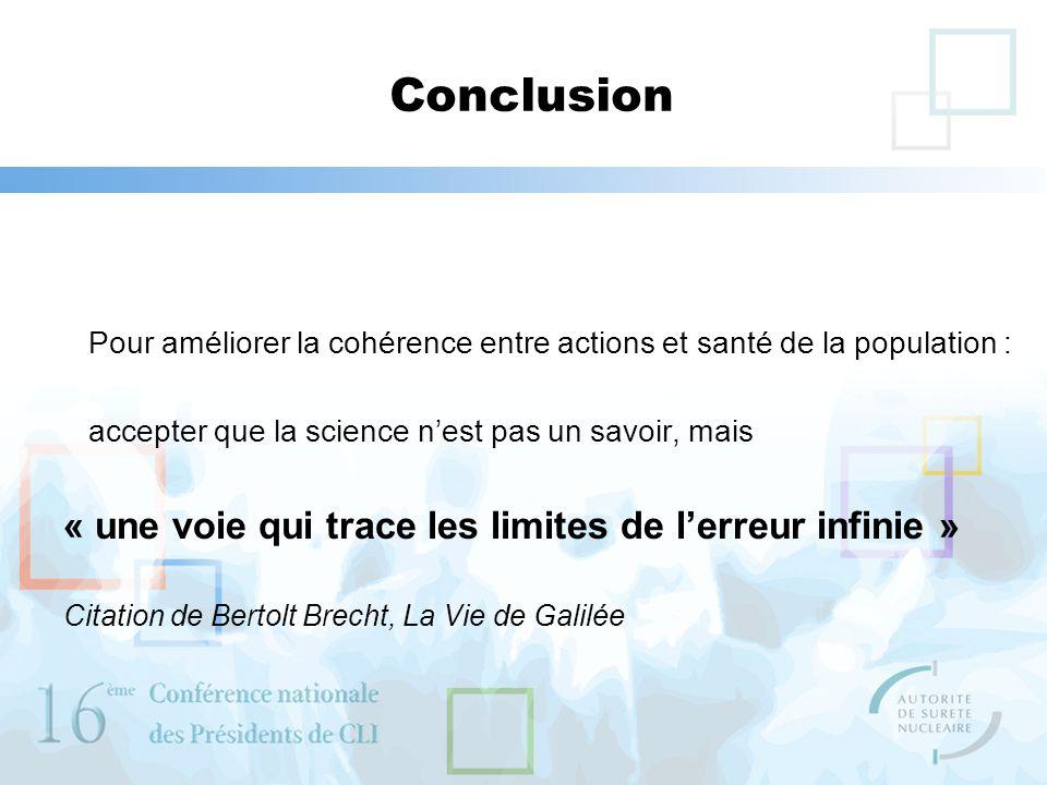 Conclusion Pour améliorer la cohérence entre actions et santé de la population : accepter que la science nest pas un savoir, mais « une voie qui trace