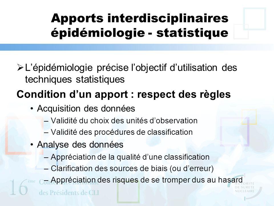 Apports interdisciplinaires épidémiologie - statistique Lépidémiologie précise lobjectif dutilisation des techniques statistiques Condition dun apport