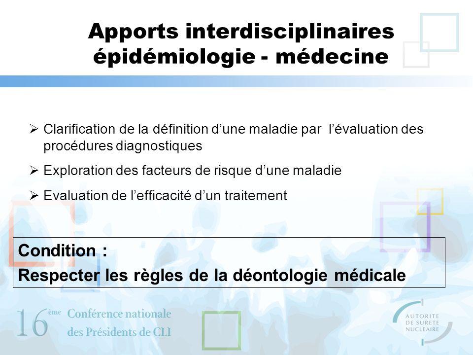Apports interdisciplinaires épidémiologie - médecine Clarification de la définition dune maladie par lévaluation des procédures diagnostiques Explorat