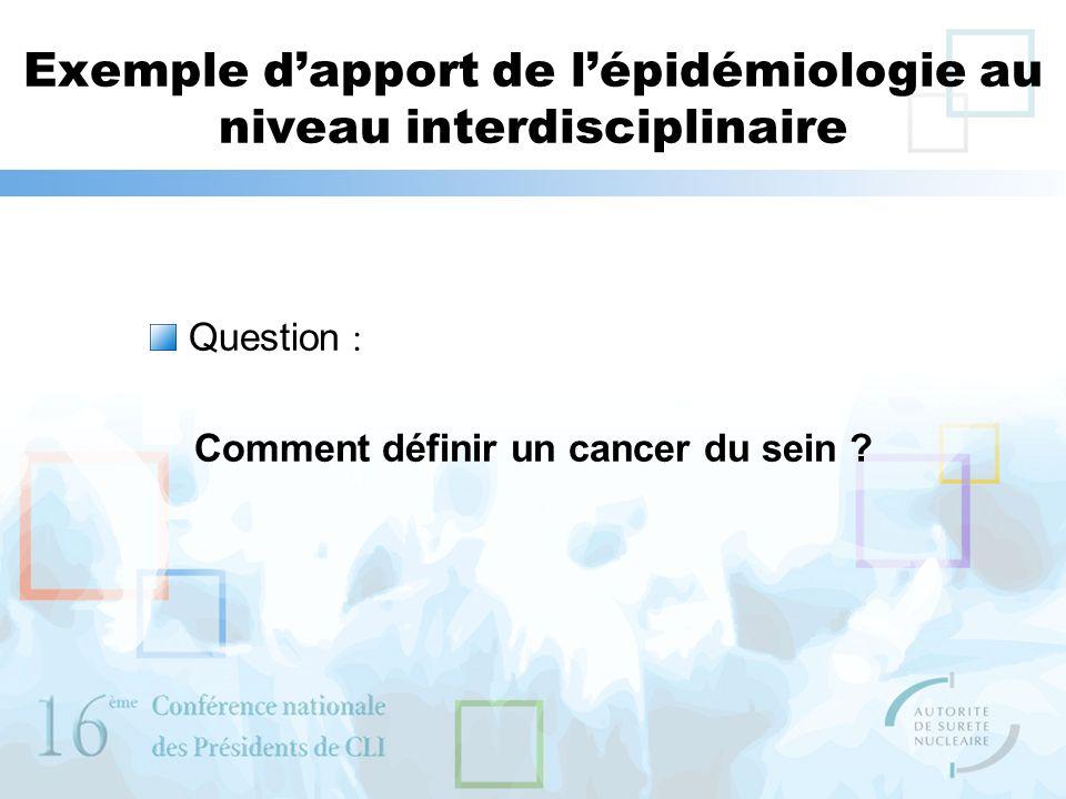 Exemple dapport de lépidémiologie au niveau interdisciplinaire Question : Comment définir un cancer du sein ?
