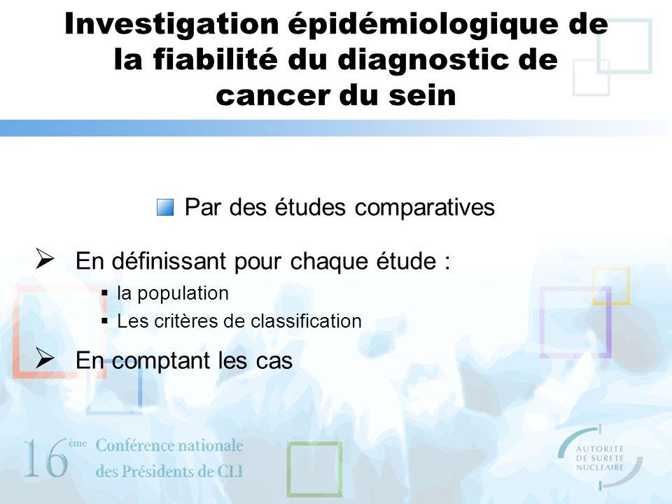Investigation épidémiologique de la fiabilité du diagnostic de cancer du sein Par des études comparatives En définissant pour chaque étude : la popula