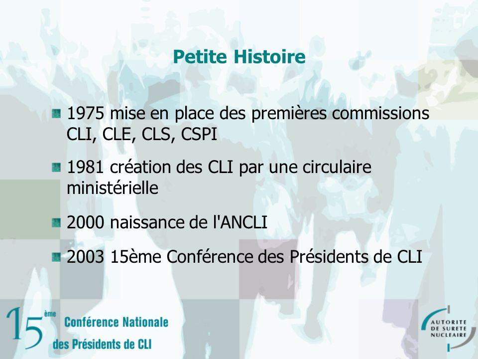 Petite Histoire 1975 mise en place des premières commissions CLI, CLE, CLS, CSPI 1981 création des CLI par une circulaire ministérielle 2000 naissance de l ANCLI 2003 15ème Conférence des Présidents de CLI