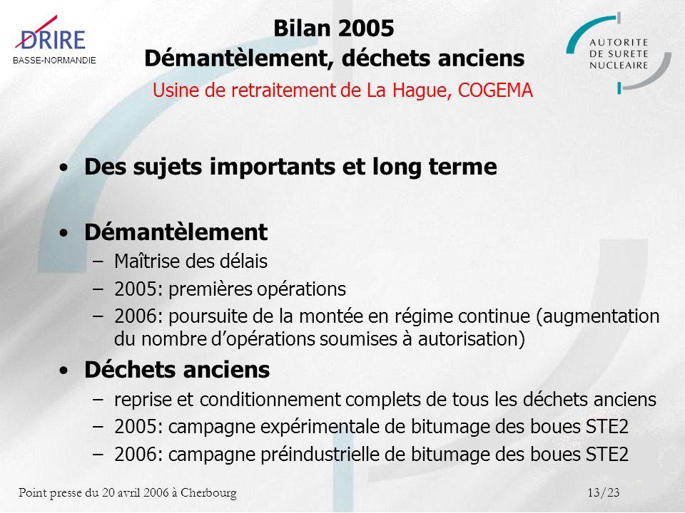 BASSE-NORMANDIE Point presse du 20 avril 2006 à Cherbourg13/23 Des sujets importants et long terme Démantèlement –Maîtrise des délais –2005: premières