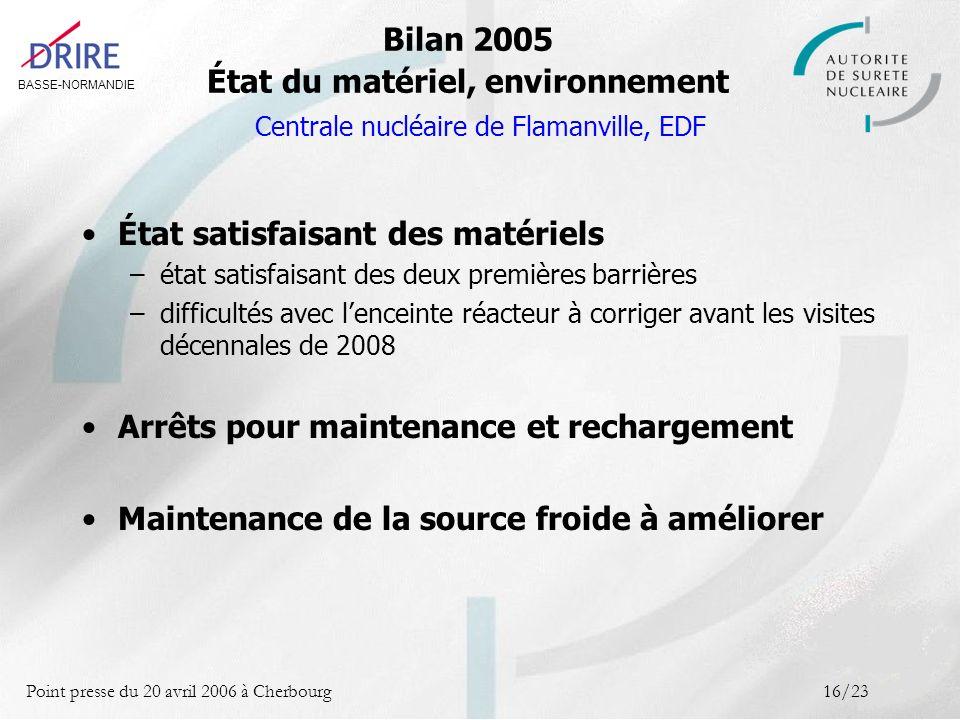 BASSE-NORMANDIE Point presse du 20 avril 2006 à Cherbourg16/23 Bilan 2005 État du matériel, environnement Centrale nucléaire de Flamanville, EDF État