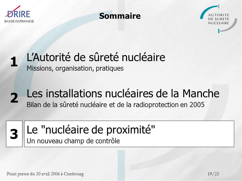 BASSE-NORMANDIE Point presse du 20 avril 2006 à Cherbourg19/23 Sommaire LAutorité de sûreté nucléaire Missions, organisation, pratiques 1 Les installa