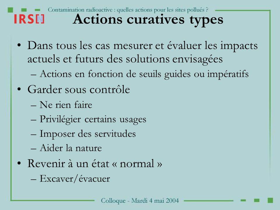Actions curatives types Dans tous les cas mesurer et évaluer les impacts actuels et futurs des solutions envisagées –Actions en fonction de seuils gui