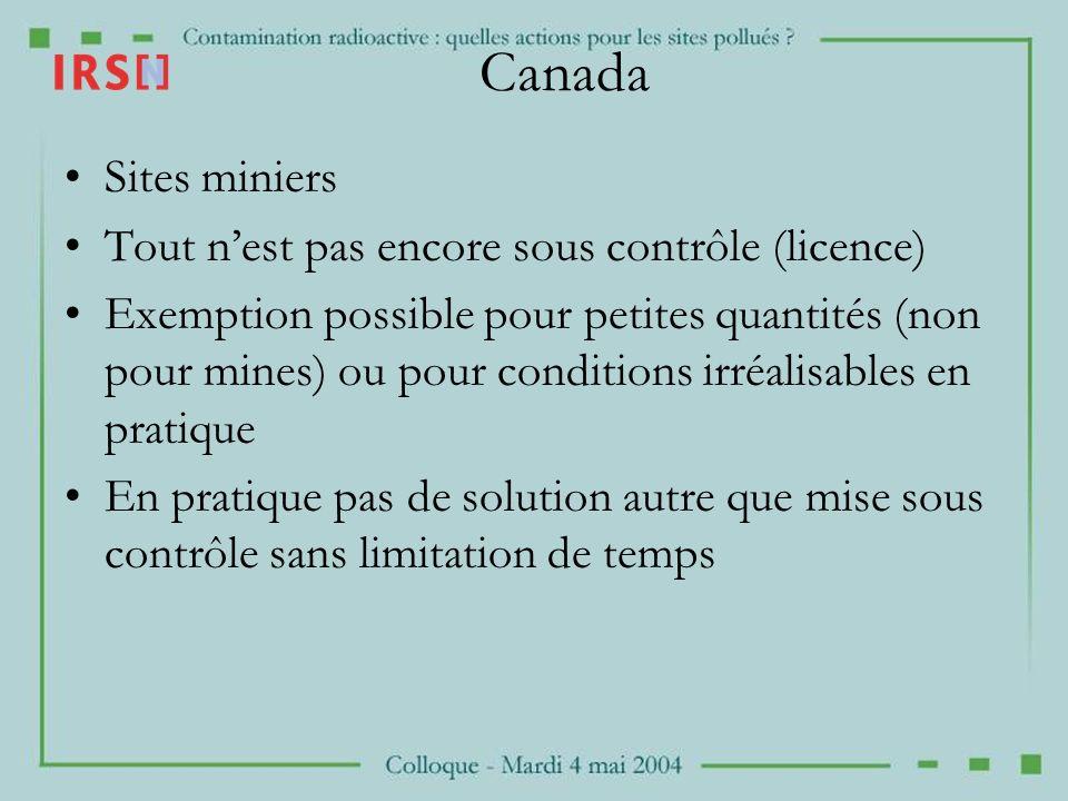 Canada Sites miniers Tout nest pas encore sous contrôle (licence) Exemption possible pour petites quantités (non pour mines) ou pour conditions irréal