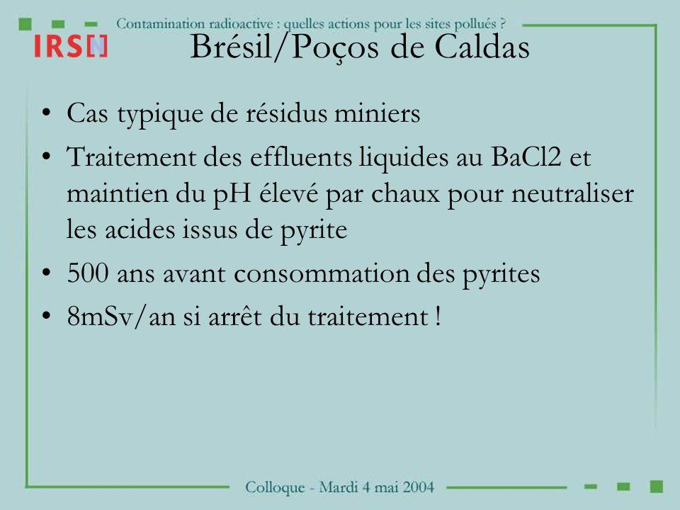 Brésil/Poços de Caldas Cas typique de résidus miniers Traitement des effluents liquides au BaCl2 et maintien du pH élevé par chaux pour neutraliser le